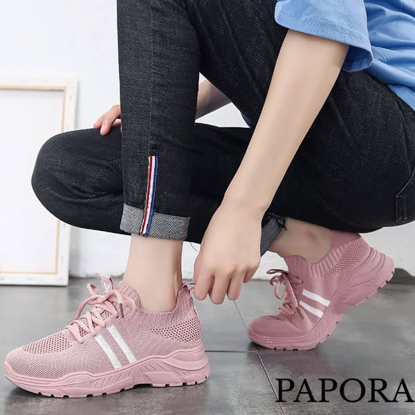休閒綁帶透氣輕量厚底老爹布鞋鞋KP49黑/粉/白(偏小)PAPORA