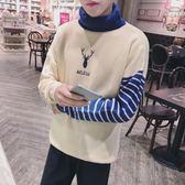 小鹿刺繡高領撞色針織衫韓版高領寬松套頭