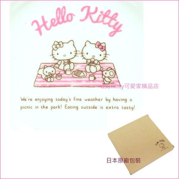 asdfkitty可愛家☆日本金正陶器 KITTY野餐-陶磁盤/點心盤/水果盤/甜點盤-30903-可微波-日本製