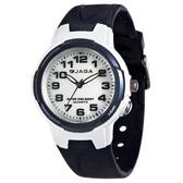 捷卡 JAGA 指針錶 白面 藍色橡膠 38mm 學生錶/大錶/國中/國小/都適合 清楚時間判讀 時間玩家 AQ68A-E