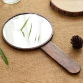高清手柄化妝鏡實木便攜梳妝鏡手持手拿鏡子美容院復古木質隨身鏡 免運直出 交換禮物