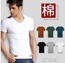 短袖t恤男士v領純棉純色春夏體恤汗衫緊身夏季雞心領白色打底衫男 3C優購