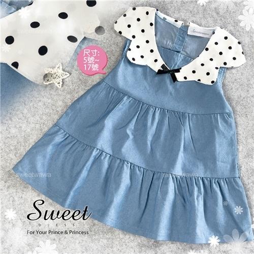 夏日海洋風-水玉點點翻領牛仔荷葉洋裝(310322)【水娃娃時尚童裝】