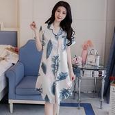 L碼夏季睡衣女女冰絲性感舒適可愛學生睡裙仿真絲家居服