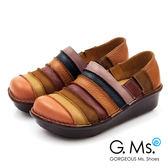 G.Ms.*  MIT系列-彩虹條紋全牛皮厚底懶人鞋*俏皮橘