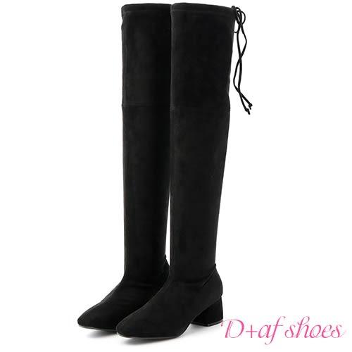 D+AF 完美比例.後綁帶馬蹄跟膝上長靴*黑