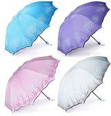 晴雨傘折疊女兩用黑膠大號雙人三折太陽傘防曬防紫外線清新遮陽傘 易貨居
