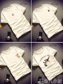 打底衫 短袖男T恤夏天純棉修身學生上衣半截袖青年體恤印花圓領白打底衫 非凡小鋪