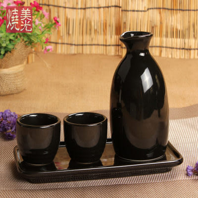 【一套]美光燒 亮光黑色酒壺