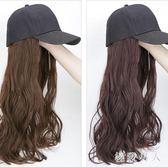 假髮女長髮帽子假髮一體夏天時尚長卷髮大波浪逼真自然網紅全頭套TA6529【極致男人】