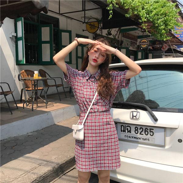 VK旗艦店 韓系復古洋氣格紋套裝短袖裙裝