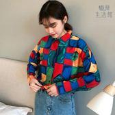 襯衫韓版印花格子洋氣襯衫女設計感小眾打底【極簡生活館】