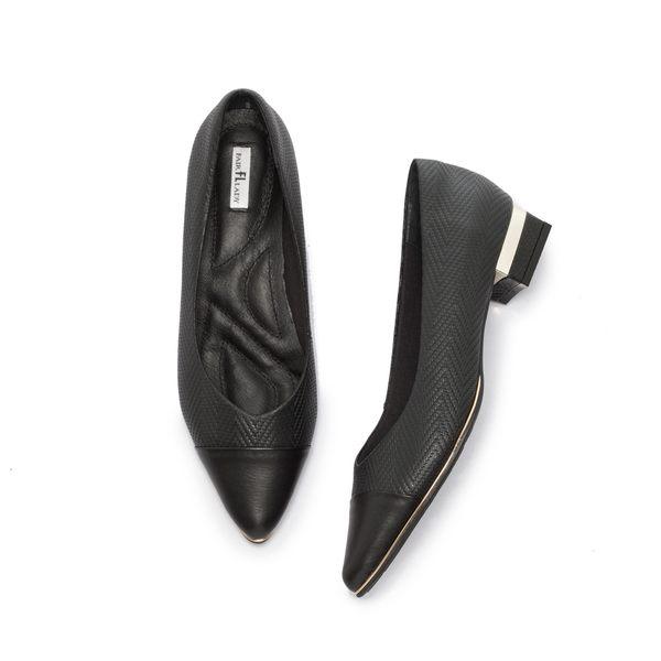 【Fair Lady】Soft芯太軟 波紋拼接V型尖頭低跟鞋 黑