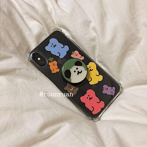 韓國ins彩色軟糖熊支架蘋果手機殼 iphone12/11Promax/Xr/78Plus/Xsmax
