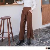 韓系簡約造型腰頭打褶直筒寬褲 OB嚴選《BA6018-》