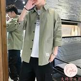 襯衫男七分袖夏季寬松短袖襯衣日系夏天休閑外套【大碼百分百】