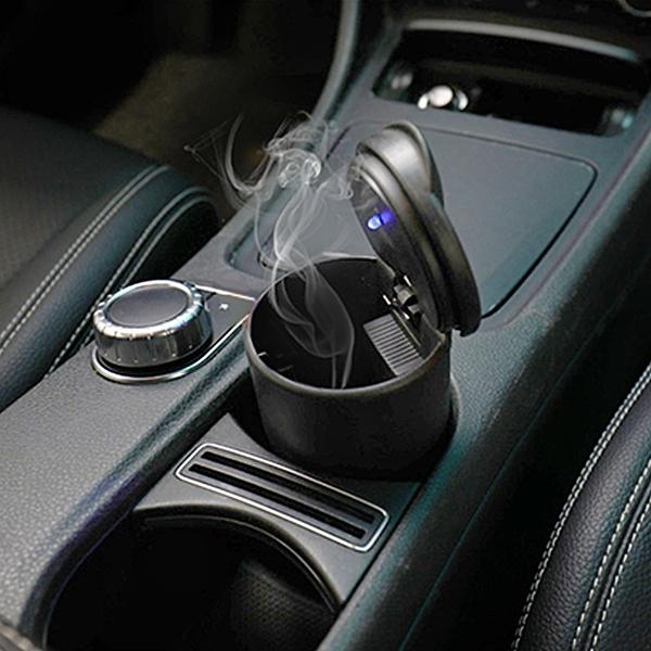 泰伯思 汽車用菸灰缸帶LED燈 創意夜燈耐高溫帶蓋菸灰缸【G0038】