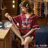 休閒睡衣女夏季薄款棉質短袖夏天兩件套裝可愛卡通女士全棉家居服 DR34686【Pink 中大尺碼】
