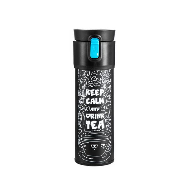 【PO:Selected】丹麥保溫泡茶杯470ml (內建瓶蓋過濾茶葉裝置) (插畫款) (黑+藍)