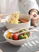 日式學生宿舍泡面碗帶蓋小麥秸稈餐具便當盒方便面碗筷套裝大湯碗