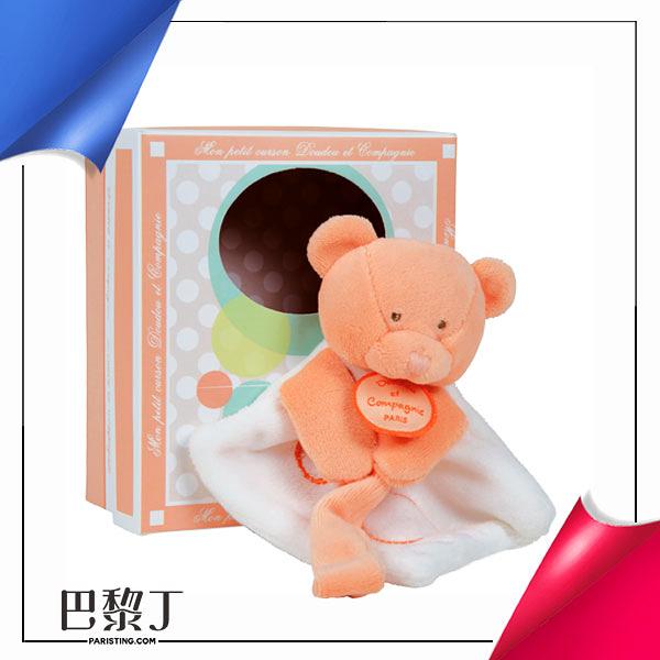 Doudou et Compagnie QQ小橘毛巾熊奶嘴鏈 有盒