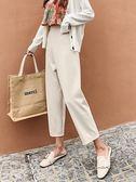 奶奶褲女顯瘦九分休閒褲高腰闊腿褲夏白色寬鬆潮直筒褲子