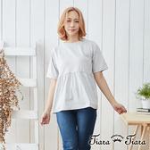 【Tiara Tiara】棉質半袖傘下擺上衣(深藍/淺灰)