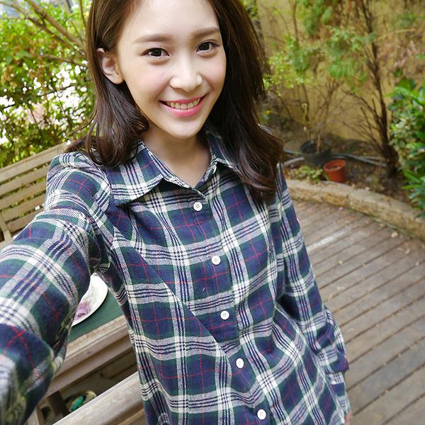 質感格紋襯衫--個性時尚格紋毛料袖釦設計長版襯衫(紅.藍M-2L)-I68眼圈熊中大尺碼