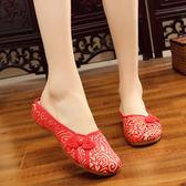 新款金絲盤扣涼拖鞋 牛筋底繡花鞋民族風復古老北京布鞋女