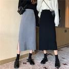 半身裙秋冬2020新款黑色開叉針織裙子女中長款高腰a字顯瘦包臀裙 黛尼時尚精品