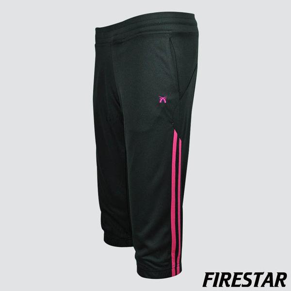 FIRESTAR-女性吸濕排汗針織七分褲-黑/桃紅 CL328-10