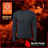 【North Field 男 圓領遠外線內衣《岩黑》】保暖衣/發熱衣/膠原蛋白/吸濕排汗/親膚/第二層肌膚