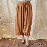 【Tiara Tiara】激安 中東風格單色七分褲(灰/駝)