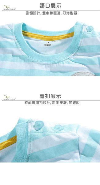 上衣 女童 藍色條紋鼠 歐美經典兒童純棉長袖T恤