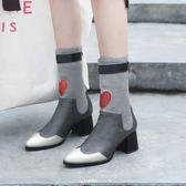 {丁果時尚}大尺碼女鞋34-46►2018歐美明星款愛心拼色尖頭後拉鍊中跟短靴騎馬靴子*2色