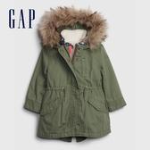 Gap女幼童 可脫卸內膽仿毛邊連帽外套 593221-綠色