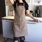 一件免運-帆布圍裙字奶茶咖啡店烘焙餐廳美甲正韓時尚男女工作服