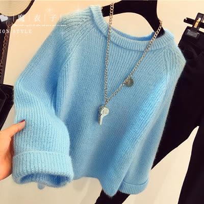 【QV1385】魔衣子-純色圓領寬鬆長袖短款毛衣上衣