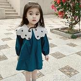 女童長袖洋裝春季新款童裝韓版女童時尚圓點大翻領長袖洋裝兒童休閒裙子快速出貨