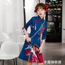 夏季旗袍 國潮旗袍年輕款2021年新款改良版中國風旗袍連衣裙小個子短款女 618大促銷
