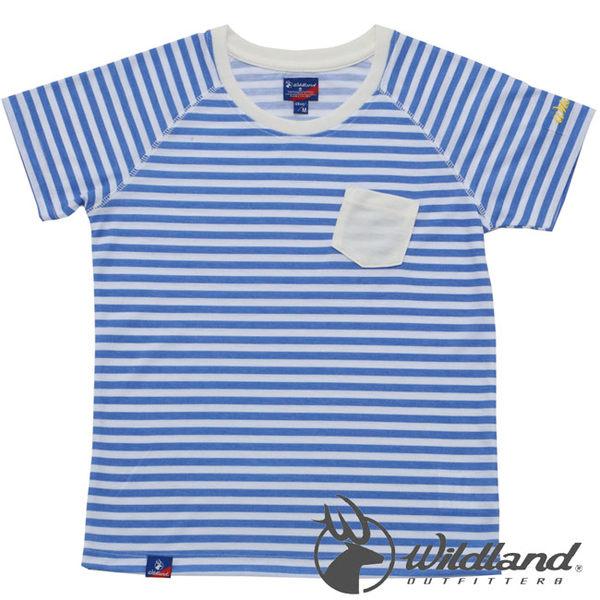 Wildland 荒野 0A31698-77藍色 中童 條紋仿棉抗UV排汗衣