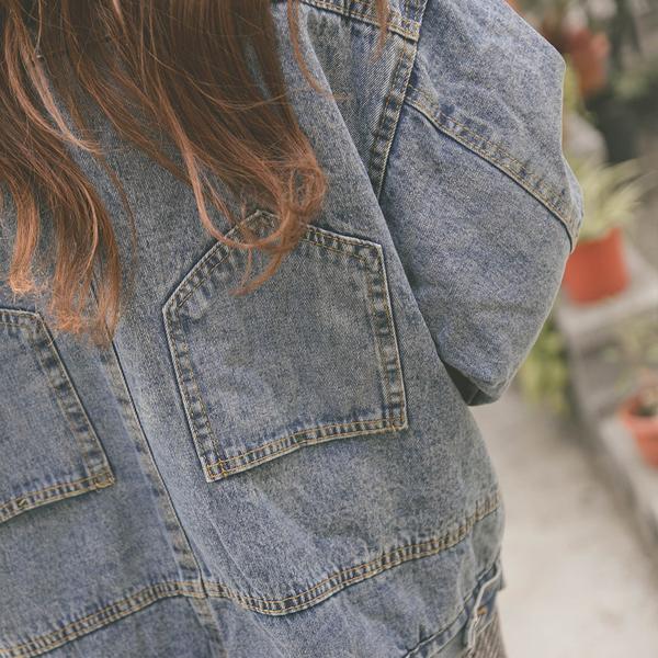 MUMU【C68149】內刷毛寬鬆男友翻領牛仔外套
