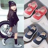 兒童帆布鞋春季蝴蝶結女童鞋中小童寶寶板鞋韓版潮低筒休閒鞋 快速出貨