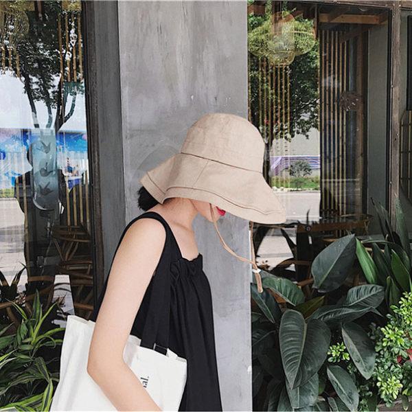 漁夫帽 遮陽帽 棉麻大帽沿可塑形可折疊休閒帽