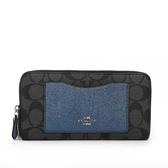 【COACH】PVC LOGO口袋ㄇ拉長夾禮盒(金屬藍)F22712 SVMWM