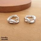 §海洋盒子§漂亮優雅無限鑲鑽圈圈針式易扣925純銀耳環 (外鍍專櫃級正白K)