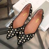 新款鑲鉆尖頭平底鞋淺口套腳軟底舒適百搭鞋LJ4188『黑色妹妹』