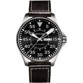 Hamilton 漢米爾頓 卡其飛行員機械錶-黑x咖啡/46mm H64715535