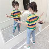 女童短袖t恤新品夏裝兒童洋氣條紋半袖中大童裝正韓寬鬆上衣 88折下殺