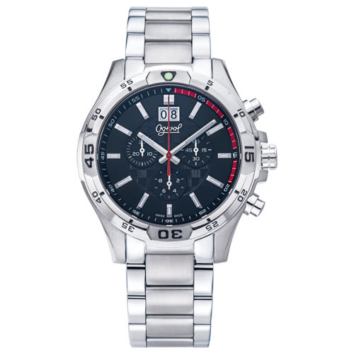 Ogival 瑞士愛其華  精銳戰將三眼計時石英腕錶-黑/45mm